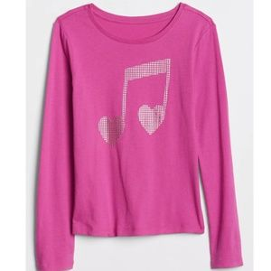 NWT Gap Long Sleeve Music Note Graphic Tee